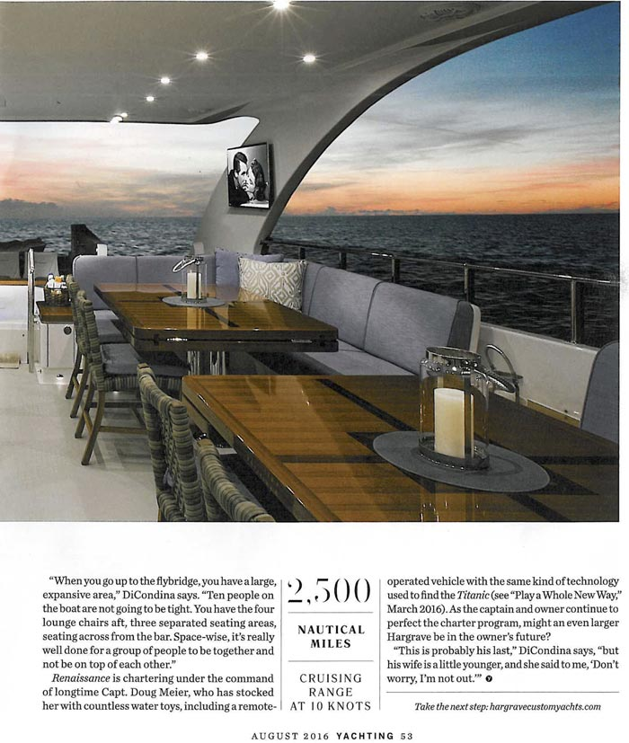INTERIOR DESIGN 116 FOOT RENAISSANCE YACHTING August 2016